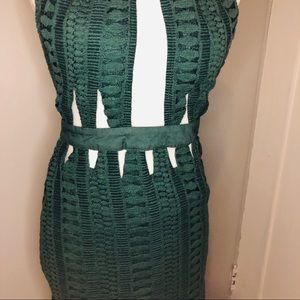 Crochet hunter green dress